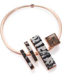 Eddie Borgo Zebra & Leopard Jasper Composition Collar Necklace - Lyst