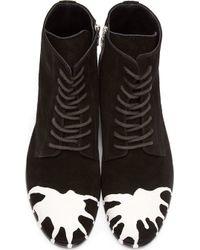 Miharayasuhiro - Black and White Dropped Paint Combat Boots - Lyst