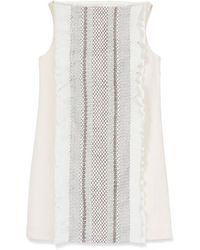 Tory Burch Burlap & Smocked-Silk Dress - Lyst