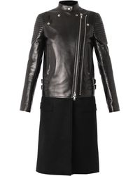Givenchy Leather and Wool Biker Coat - Lyst