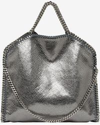 Stella McCartney Shiny Snake Print 3 Chain Tote Pewter - Lyst