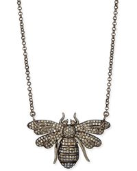 Siena Jewelry | Silver Diamond Bee Pendant Necklace | Lyst