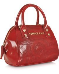 Versace Jeans Dark Red Patent Eco Leather Embroidered Mini Satchel - Lyst