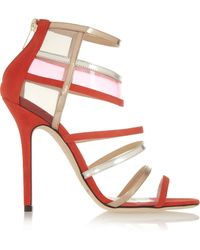 Jimmy Choo Maitai Suede and Perspex Sandals - Lyst