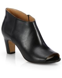 Maison Margiela Leather Peep-Toe Ankle Boots - Lyst