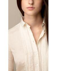 Burberry Cotton Silk Pleatfront Shirt - Lyst