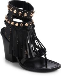 Ivy Kirzhner Studded Fringe Leather Sandals - Lyst