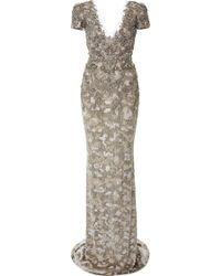 Marchesa Fully Embroidered Column Gown - Lyst