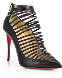 Christian Louboutin Gortik Multistrap Leather Ankle Boots - Lyst