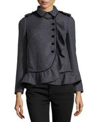 RED Valentino Herringbone Ruffle Wool Jacket - Lyst