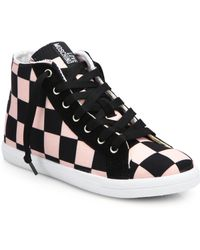 Love Moschino Check-Print High-Top Sneakers - Lyst