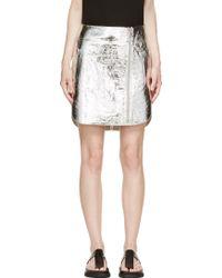 McQ by Alexander McQueen Silver Foil Crust Biker Skirt - Lyst