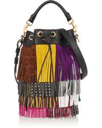 Saint Laurent - Emmanuelle Small Fringed Textured-leather Shoulder Bag - Lyst