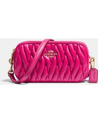 Coach Crossbody Pouch In Gathered Leather - Lyst