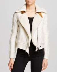 Twelfth Street Cynthia Vincent Jacket - Cable Knit Faux Shearling Lined Moto - Lyst