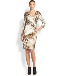 Kay Unger Ruched Abstract-print Dress - Lyst