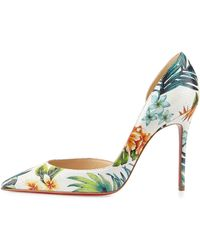 Christian louboutin Iriza Animal-Print Metallic half D\u0026#39;Orsay Pumps ...