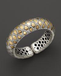 John Hardy Naga 18k Yellow Gold and Sterling Silver Bold Flex Cuff - Lyst