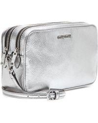 Miu Miu Metallic Leather Shoulder Bag - Lyst