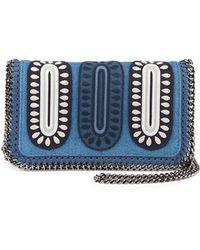 Stella McCartney Falabella Embroidered Denim Crossbody Bag - Lyst