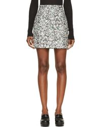 Proenza Schouler Grey Abstract Print Mini Skirt - Lyst