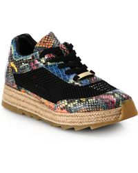 Stella McCartney Ayers Faux Snakeskin & Mesh Espadrille Platform Sneakers - Lyst