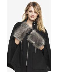 Express - Faux Grey Fox Fur Fingerless Mittens - Lyst