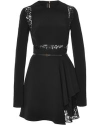 Elie Saab Crepe Cady and Lace Short Dress - Lyst