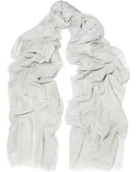 Donna Karan - Printed Metallic Cotton And Silk-blend Scarf - Lyst
