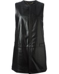 Saint Laurent Sleeveless Long Line Coat - Lyst