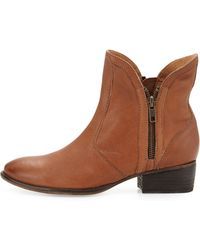 Seychelles Lucky Penny Side Zip Leather Bootie Cognac - Lyst