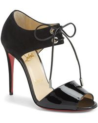 Christian Louboutin Tie-Up Leather Sandal - Lyst