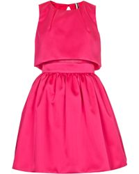 Topshop Crop Overlay Duchess Satin Dress - Lyst