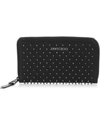 Jimmy Choo - Black Leather Nikita Studded Star Detail Convertible Continental Wallet - Lyst