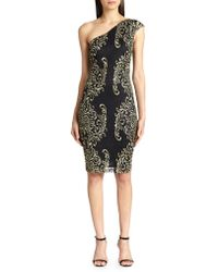 David Meister Metallic Embroidered Lace One-shoulder Dress - Lyst