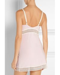 Cheek Frills - Lace-paneled Stretch-modal Nightdress - Lyst