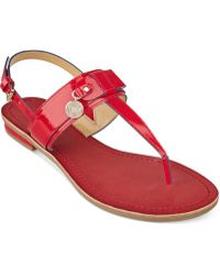 Tommy Hilfiger Harleen Flat Thong Sandals red - Lyst