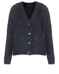 Topshop Fluffy Cloud Cardigan  Navy Blue - Lyst