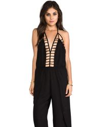 Indah Gypsy Deep V Cut Out Trim Jumpsuit in Black - Lyst