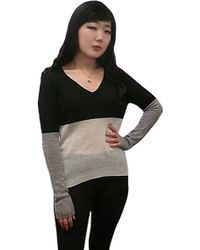 Enza Costa Color Block Cashmere V Neck Sweater - Lyst