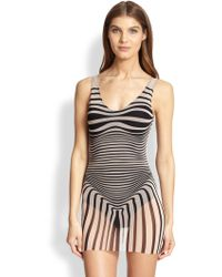 Jean Paul Gaultier One-Piece Optical Tulle Swimsuit - Lyst