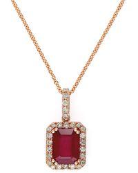 Effy 14kt Rose Gold Ruby Diamond Square Pendant Necklace - Lyst