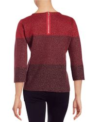 Anne Klein | Colorblocked Shimmer Sweater | Lyst