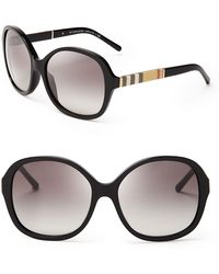 Burberry London Check Round Oversized Sunglasses - Lyst