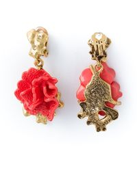 Oscar de la Renta Floral Clip-On Earrings - Lyst