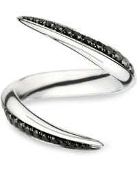 Shaun Leane White Gold and Black Diamond Aerial Crossover Ring - Lyst