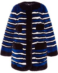 Marc Jacobs Striped Rabbit-Fur Coat - Lyst