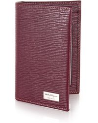 Ferragamo Revival Textured Leather Card Case red - Lyst