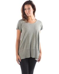 Wilt Clothing - Wilt High Low Short Sleeve Top With Rib Insert - Lyst