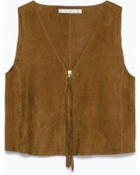 Zara Short Suede Top brown - Lyst
